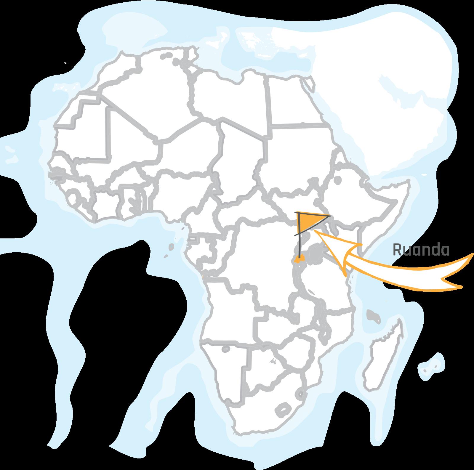 Ruanda auf dem afrikanischen Kontinent